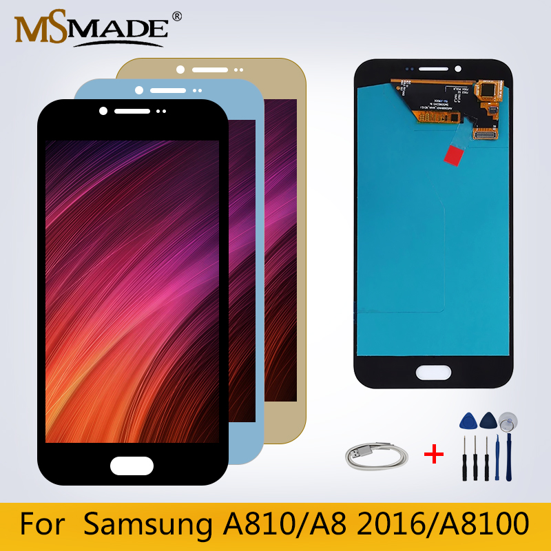 Original <font><b>LCD</b></font> For <font><b>Samsung</b></font> Galaxy A8 2016 A8100 <font><b>A810</b></font> A810F A810DS <font><b>LCD</b></font> Display Touch Screen Replacement Parts 100% Tested image