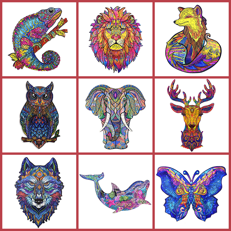 2021 New Wooden Toys Jigsaw Puzzle Fox Elephant  DIY Wood Crafts Animal Shapes Fun Educational Toys For Adults And Children 1