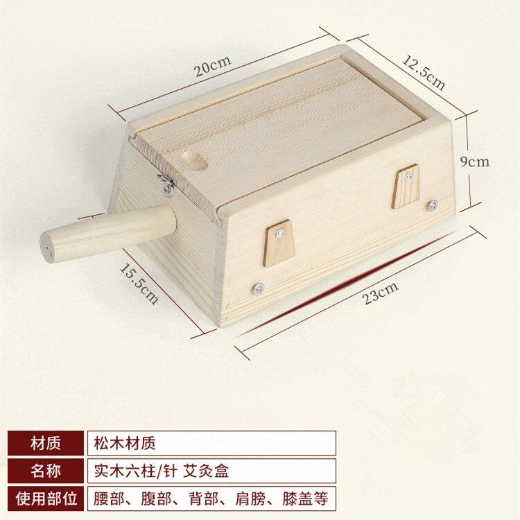 6-Hole Moxibustion Box Solid Wood 6 Column Needle Pure Wood Six Holes Portable Moxibustion Device Warm Moxibustion Utensil Instr
