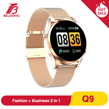 رائجة البيع BELOONG Q9 ساعة ذكية الرجال مقاوم للماء HR الاستشعار ضغط الدم رصد موضة جهاز تعقب للياقة البدنية Smartwatch VS Q8 Q20