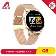 Sıcak satış BELOONG Q9 akıllı saat erkekler su geçirmez HR sensörü kan basıncı monitörü moda spor izci Smartwatch VS Q8 Q20