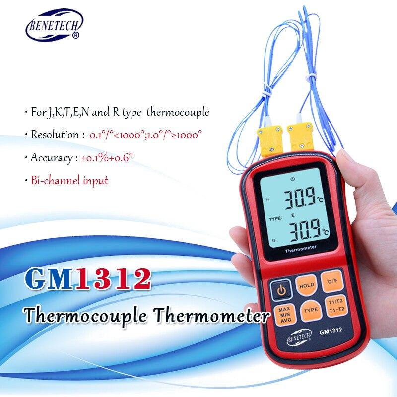 Benetech gm1312-50 300300c termopar termômetro medidor de temperatura digital de canal duplo para k/j/t/e/r/s/n lcd termometro