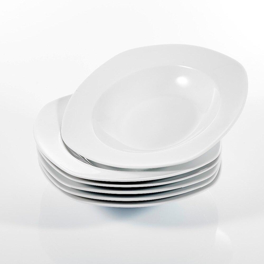 """Malacasa ROSANA 6-Piece 8.25/"""" Square Porcelain Deep Soup Plates for Home Kitchen"""