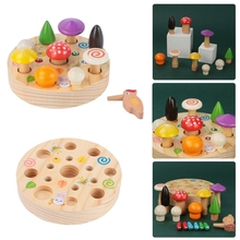 Toy Game Catch Worm Puzzle Colorful Early-Education Kids Home 1set Magnetic-Pull-Mushroom