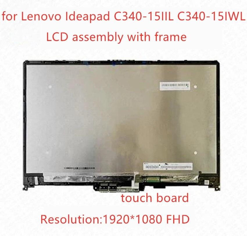 15,6 дюймов для Lenovo IdeaPad C340-15 C340-15IIL C340-15IWL FHD 1920X1080 ЖК сенсорный экран цифровой преобразователь стеклянного экрана в сборе с рамкой