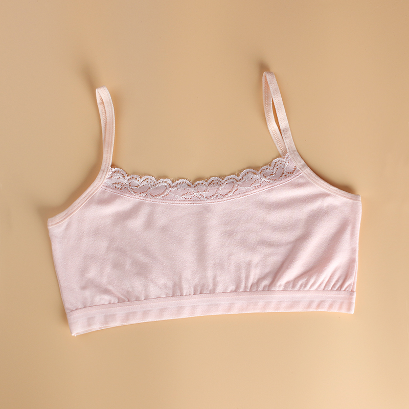 3Pcs/Lot Cotton Lace Bras for Kids Girls Sport Training Child Underwear Tops  8-14years 2