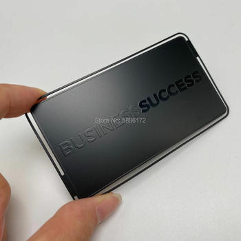 Cheap price Premium Stainless steel Electroplating black Matte etched Metal business card new arrival etching and cutting through stainless steel metal material metal etched business cards