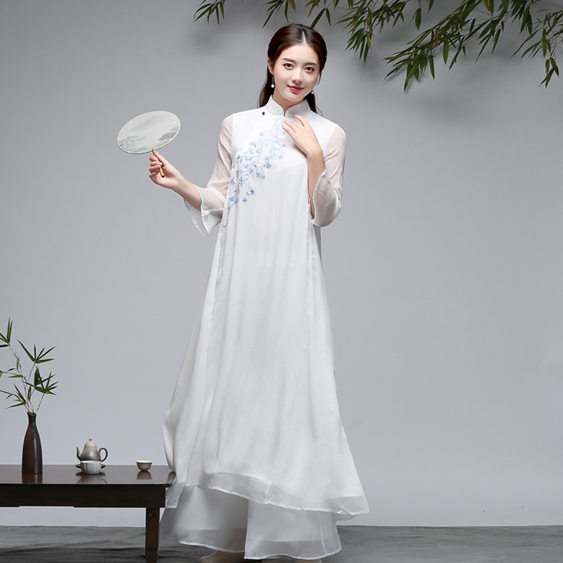 Zen Dance Clothes Dress Women's Spring And Summer Ethnic Literature And Art Fairy Skirt Retro Embroidered Tea Art Clothes Swingi