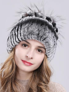 Beanies-Hat Rabbit-Fur-Caps Knitted Russia Winter Women Real Good-Elastic Hot-Sale Rex