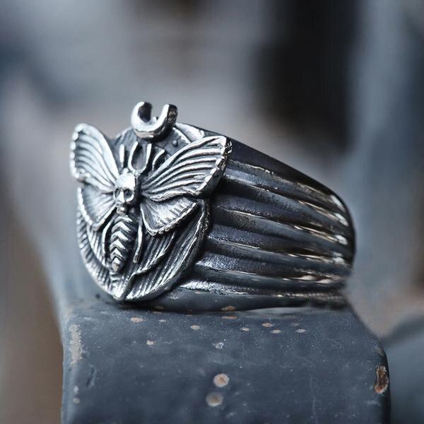 Мертвая голова череп моли Роскошная бабочка кольца для украшений «животное» из Anill для женщин модные готические Стиль аксессуары для пальц...