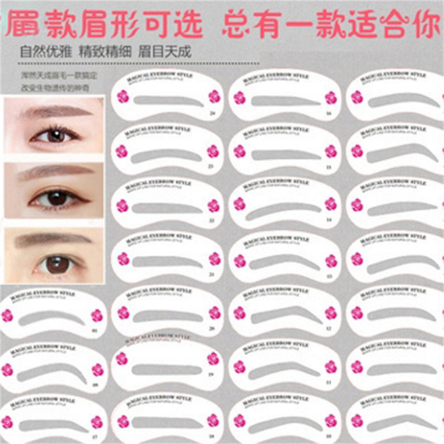 Reusable Stencil Eyebrow Sets Fashion Eyebrow DIY Drawing Guide Style Shaping Grooming Easy Card Model Makeup Beauty Kit 24PCS 2