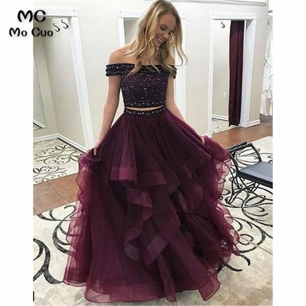 Two Pieces Gown Ball Long Prom Dresses Evening Gown Ruffles Tulle Vestido De Festa Burgundy Off Shoulder Women Prom Dress