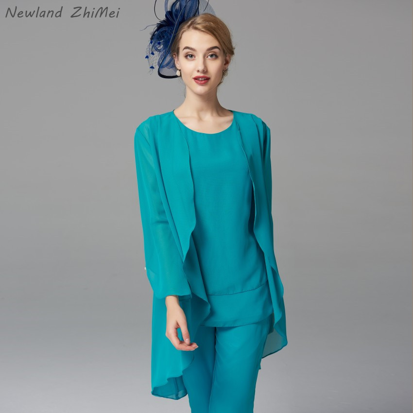 Купить с кэшбэком Vintage Long 2020 Mother of the Bride Dress with Jacket Comfortable Chiffon Mother of the Bride Pant Suits Excellent Quality