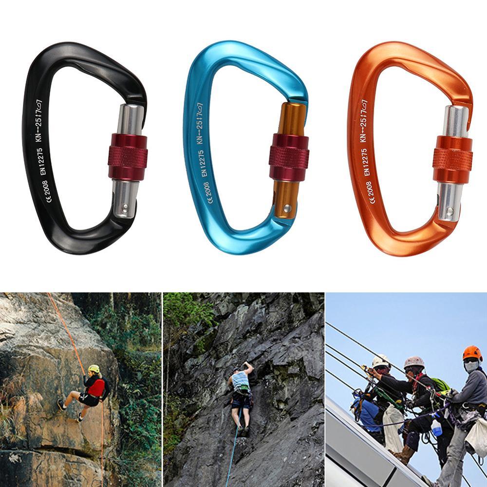 25KN Professional Climbing Carabiner D รูปร่างปีนเขาหัวเข็มขัดล็อคความปลอดภัยล็อคอุปกรณ์ปีนเขากลางแจ้งอุปกรณ์เส...