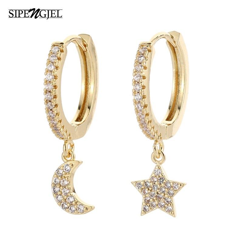 SIPENGJEL Fashion Gold Circle Hoop Earrings For Women Cross Star Moon Eye Drop Dangle Earrings Party Jewelry серьги 2021 тренд