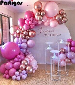 126pcs Hot Pink Chrome Rose Gold Balloon Arch Garland Wedding Birthyday Baby Shower Party Background Decor Globos Kids Toys