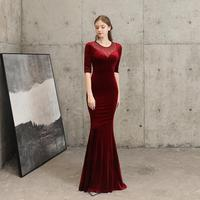 Red Flannel & Diamonds Transparent Mesh O Neck Half Sleeve Mermaid Formal Elegant Long Party Dresses Women Sexy Night Club Dress