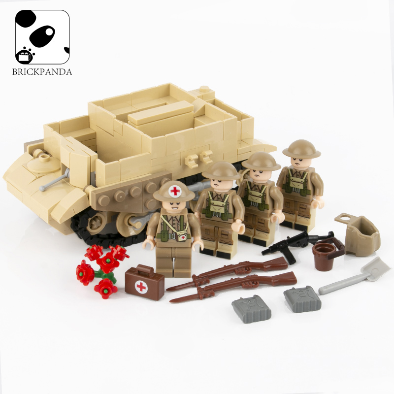MOC WW2 Military Bren Car Building Blocks Soldier British Army Tank Model Figures Weapon Parts Bricks Toys For Children