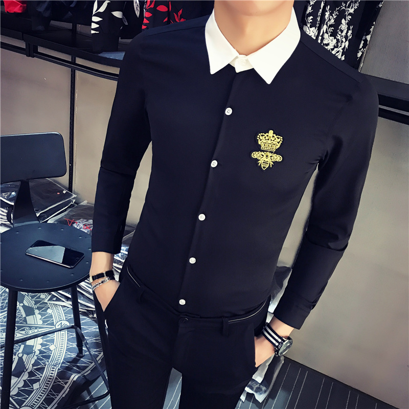 2020 Men Shirt Stitching Crown Print Long Sleeve Casual Slim Fit Dress Shirt Fashion Streetwear Tuxedo Clothing Chemise Homme