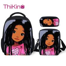 Thikin Black Afro Lovely Baby Girls School Bags for 3pcs/set Students Preschool Backpack Bookbag With Lunch Boxes Satchel
