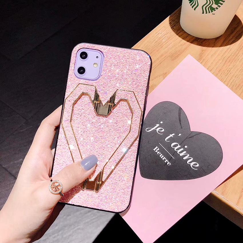 3D Fashion Love Metal Stand Cases For iPhone 11 Pro 11 Pro Max X XR XS MAX 8 7 Plus Luxury Glitter Bling Leather Phone Case Capa (9)