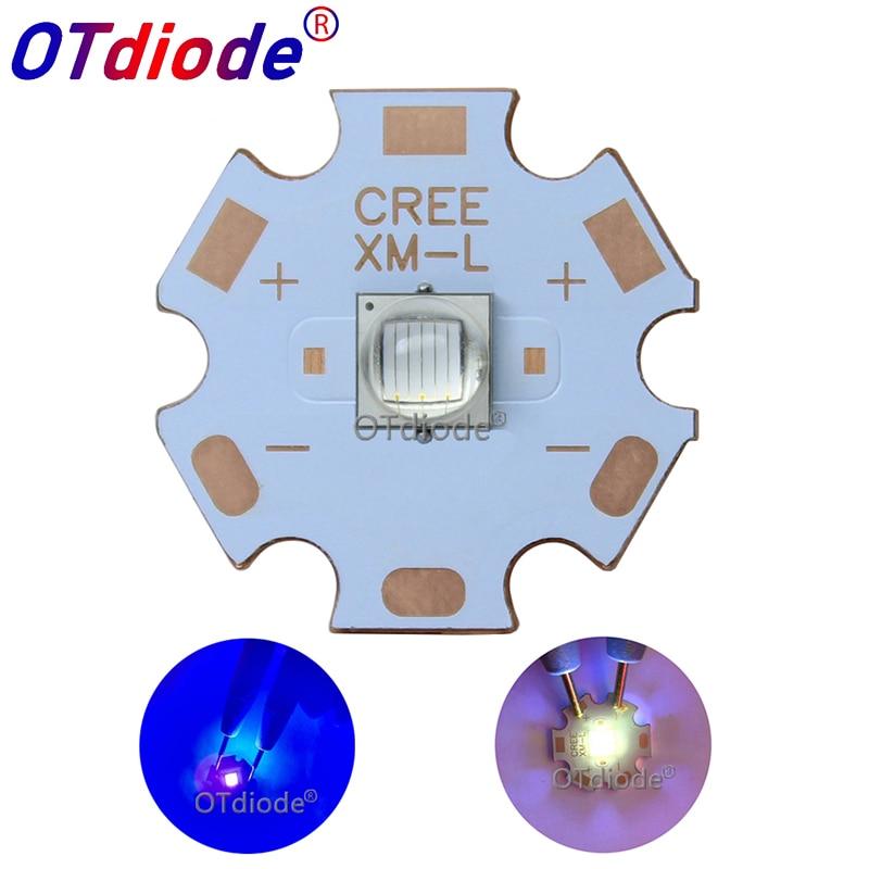 1PCS Epileds 5050 XML 10W UV Purple 365NM 395NM Led Emitter Lamp Light 3.4-3.8V 2800mA On 12MM14MM 16MM 20MM PCB Board