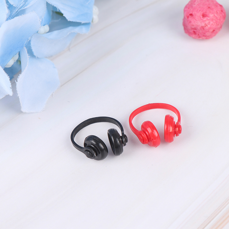 2Pcs 1/12 Headphone Doll House Decor Classic Toys For Child Kids Gift Dollhouse Miniatures Plastic Wireless Earphone