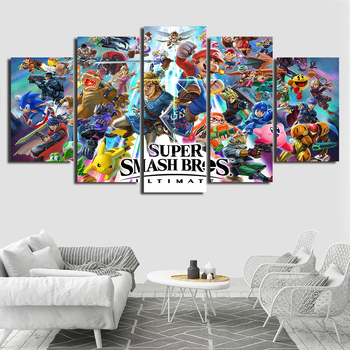 Pósteres de juego lienzo en módulos, cuadros, 5 piezas, pintura abstracta final de Super Smash Bros, decoración atística de pared, obrazy, plakat