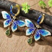 Real 925 Sterling Women Silver Earrings Long Large Butterfly Cloisonne Enamel Natural Jade Pendant famale Fine Jewelry
