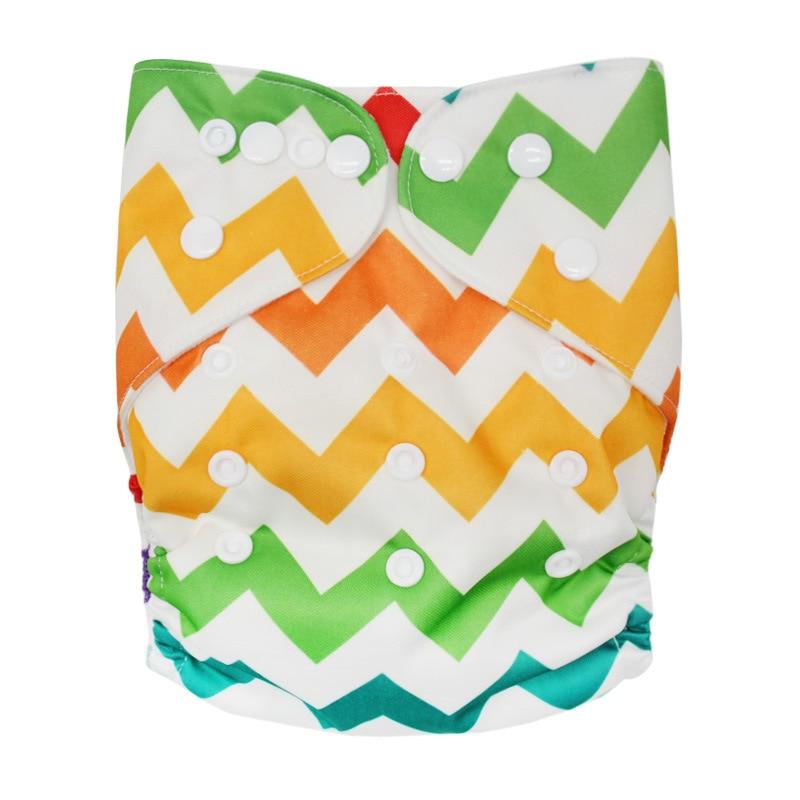 Детские моющиеся многоразовые подгузники из настоящей ткани с карманом, подгузники, чехлы для подгузников, костюмы для новорожденных и горшков, один размер, подгузники с героями мультфильмов - Цвет: Color Ripple