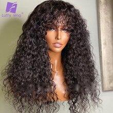 Kinky encaracolado peruca de cabelo humano com franja 200 densidade brasileiro remy cabelo máquina o couro cabeludo peruca superior glueless para preto luffywig