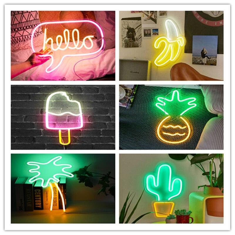 LED Neon wielu kolorowe Rainbow znak ścienny dla chłodne światło ścienne sztuki sypialni dekoracje akcesoria do domu impreza i wakacje USB drutu