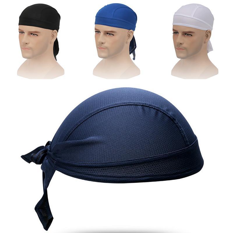Fashion Du-Rag Scarf Head Rap Hat Tie Down Band Biker's Bandanas Outdoor Sports Cap wrap Mens Women's Headwear Head A0Q3