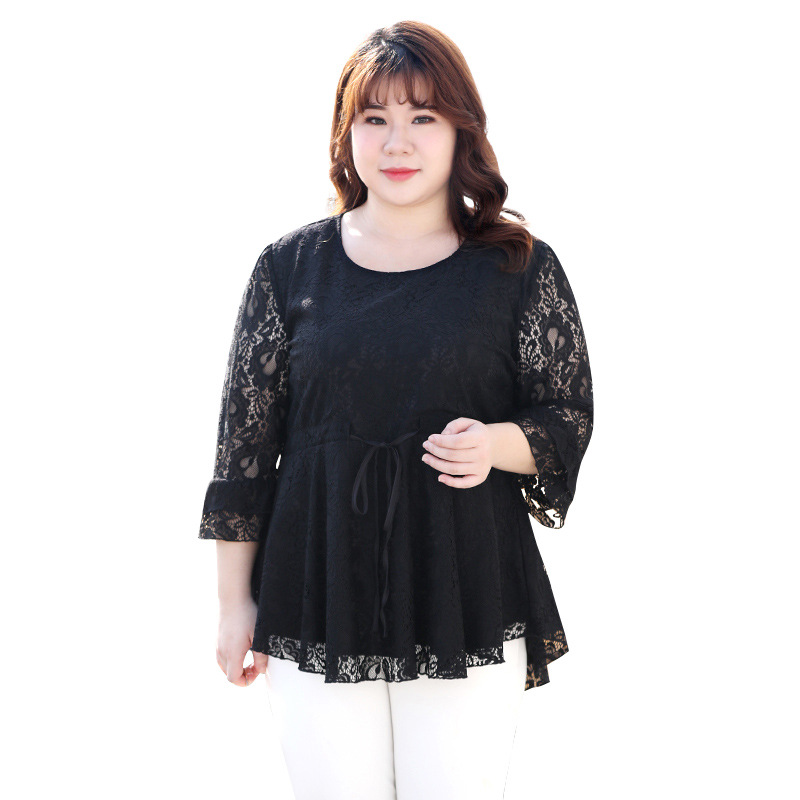 2020 WOMEN spring large size women's seven-point <font><b>sleeve</b></font> lace <font><b>shirt</b></font> fat mm pounds loose cover <font><b>belly</b></font> jacket waist slimming image