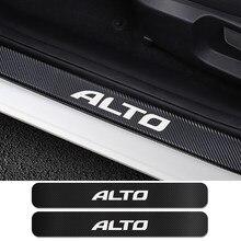 Para suzuki alto 4 pçs limiar da porta do carro placa de chinelo guardas adesivos auto protetor risco fibra carbono carro tuning acessórios