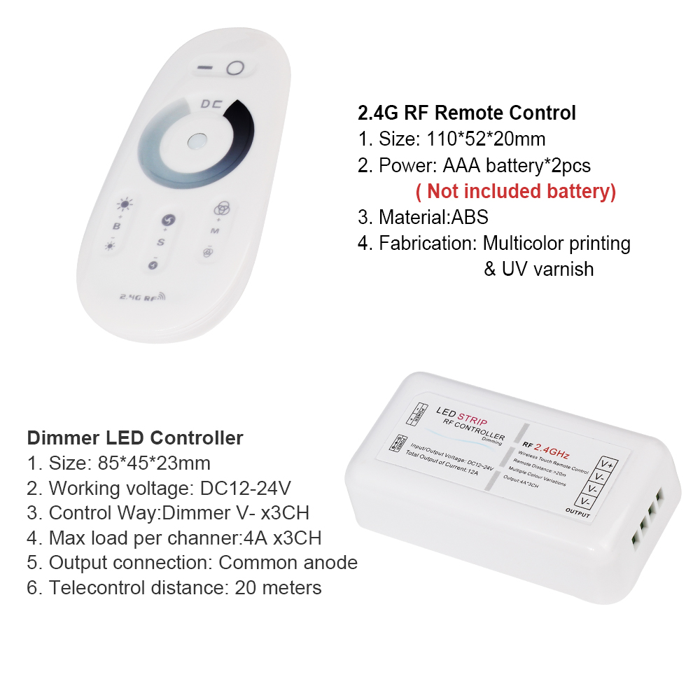 RF 2.4G Dimmer Led Strip Controller Wireless Touch Remote Control for LED Strip