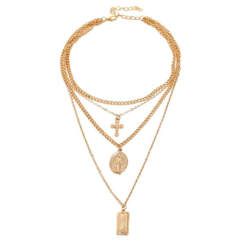 RscvonM Cross Virgin Chain Alloy Cross Metal Rod 4 Layer Pendant Necklaces Bohemian Jewelery Goddess Catholic Choker Necklace