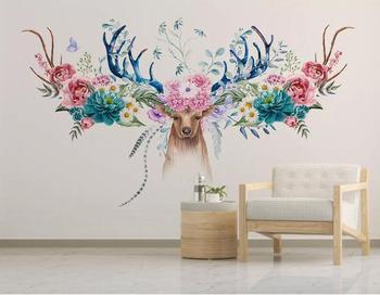 Custom 3d wallpaper mural modern minimalist Nordic flower deer head floral background wall wall papers home decor deer 3d wall sticker
