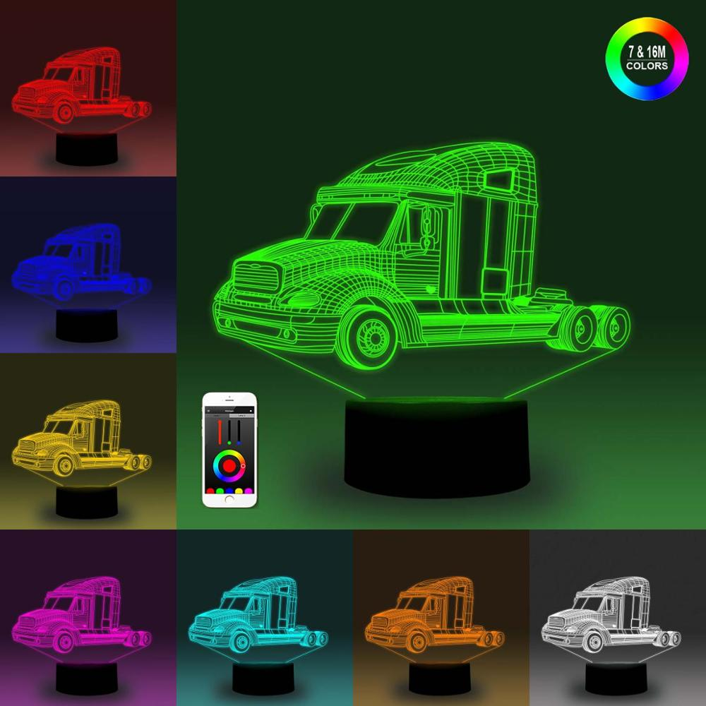 NiteApps 3D Six-wheeler Night Light Desk Table Illusion Decoration Lamp Holiday Birthday Gift APP/Touch Control