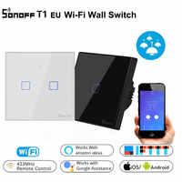 Sonoff T1 EU interruptor WiFi Panel de la UE 433mhz táctil/RF/APP/WiFi/interruptor de luz remoto inalámbrico casa inteligente funciona con Alexa Google