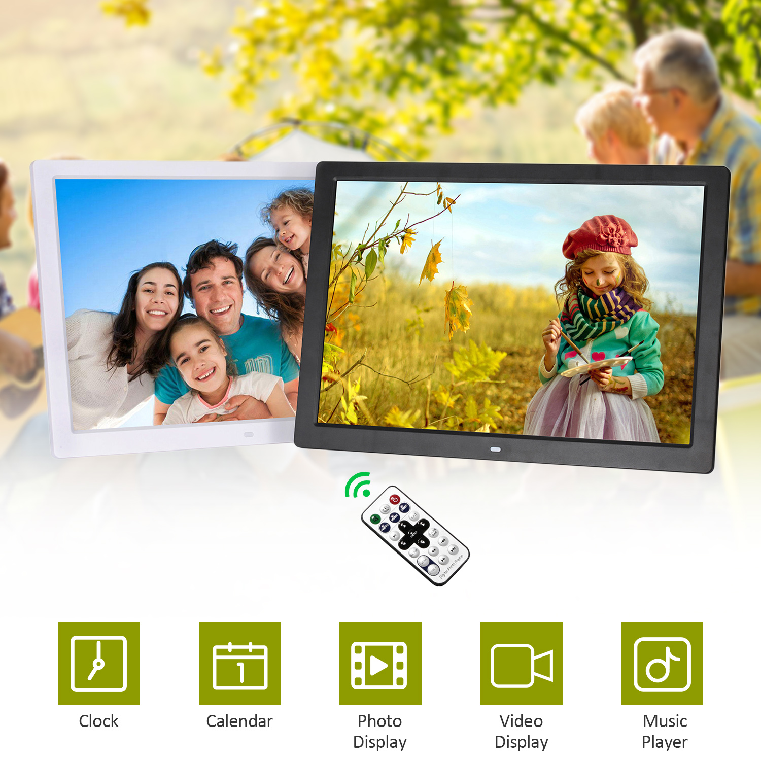 Support Music//Video//Picture Playback//Calendar//Clock 17-inch Digital Photo Frame 1440 /× 900 high-Resolution Advertising Player
