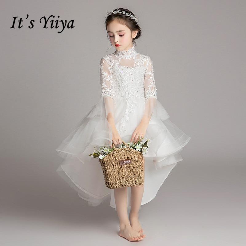 White Flower Girl Dresses It's Yiiya B049 Long Sleeves Communion Dress For Weddings Kids Vestidos De Noches Para Ninas