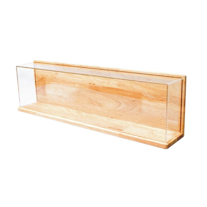 Clear Acrylic Showcase With Wood Back Base Action Figures Model Toy Display Case 094F