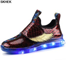 SKHEK Fashion Children Kids Baby Girls Boys Shoes Solid Striped Bling Printed Flat Led Luminous Light Sport Sneaker Baby Shoes(China)