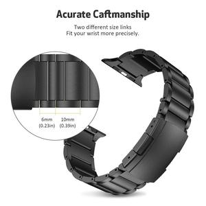 Image 3 - Pulseira de liga de titânio para apple watch band 38mm 42mm metal pulseira de pulso três links pulseira para apple assistir série 1 2 3 4 5