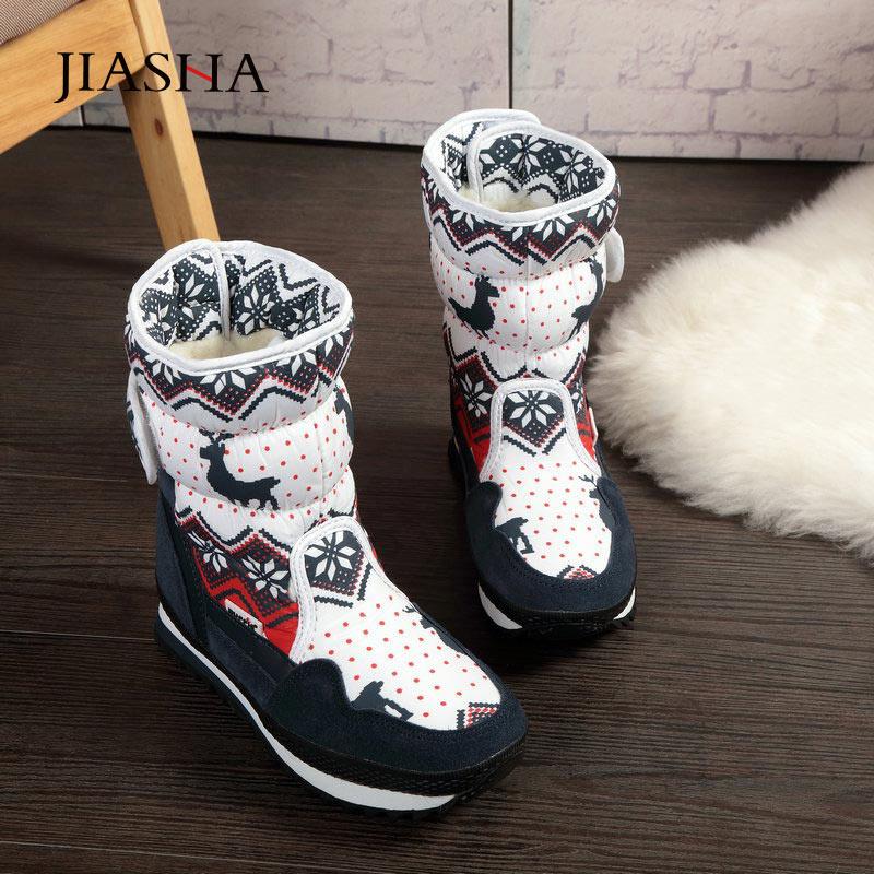 Women snow boots antiskid plus velvet warm winter boots women shoes christmas deer brand fashion style waterproof women boots Mid-Calf Boots  - AliExpress