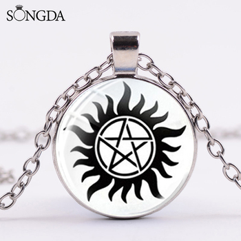 Collar Dean de Supernatural Steampunk pentagrama Devils Trap foto de cristal collar de cúpula Popular América TV Series joyería