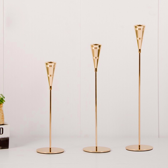 3 Pcs/ Set  European Metal Candle Holder Simple Golden Wedding Decoration Bar Party Living Room Decoration Home Decoration 6