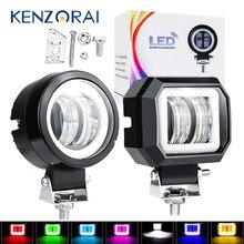 1 Pcs Waterproof Angel Eyes LED Work Light Portable Spotlights Motorcycle Off Road Truck Driving Car Boat 4x4 ATV 20W 12V 24V