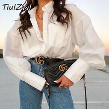 TiulZial obszerna koszula damska biała koszula z długim rękawem Lady Pocket Puff biała bluzka i topy czarna jesienna bluzka w jednym rozmiarze tanie tanio Poliester CN (pochodzenie) Wiosna jesień long Osób w wieku 18-35 lat Skręcić w dół kołnierz WOMEN Kieszenie Pełna